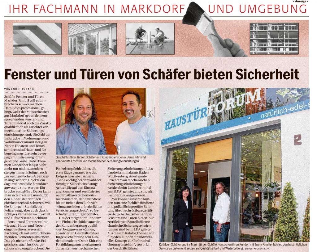 Sicherheit und Eiinbruchsschutz durch Firma Schäfer Fenster & Türen Markdorf GmbH