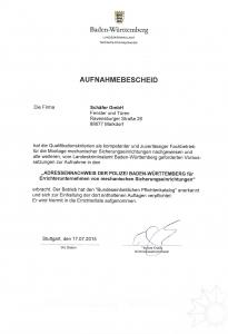 Firma Schäfer - Errichterunternehmen für mechanische Sicherungseinrichtung